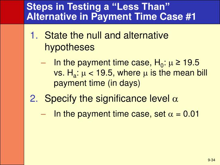 "Steps in Testing a ""Less Than"""