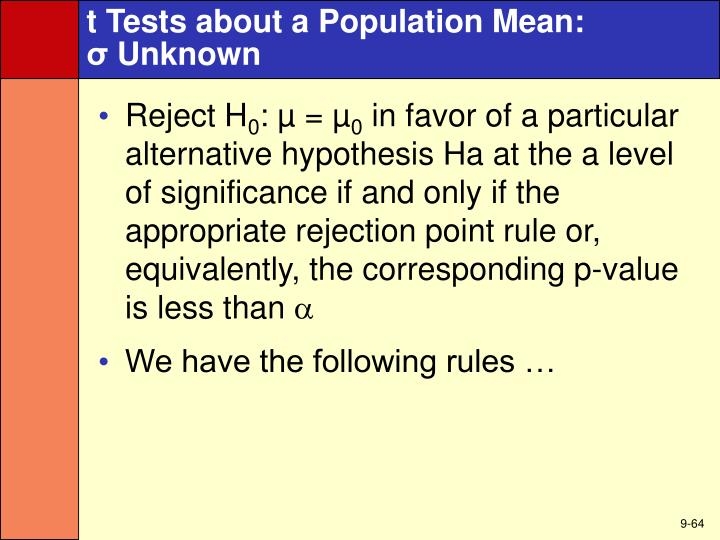 t Tests about a Population Mean:
