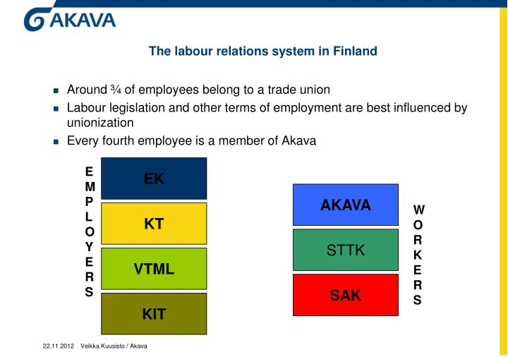 The labour relations system in Finland