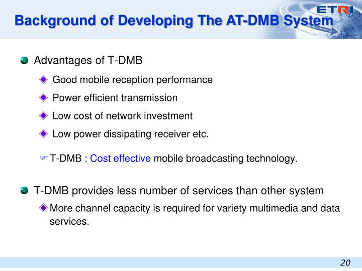 Background of Developing The AT-DMB System
