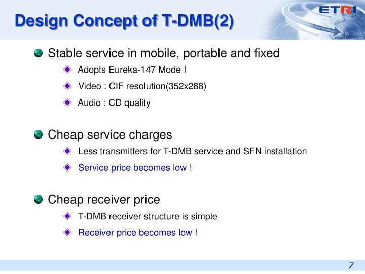 Design Concept of T-DMB(2)