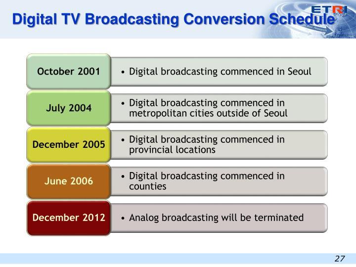Digital TV Broadcasting Conversion Schedule