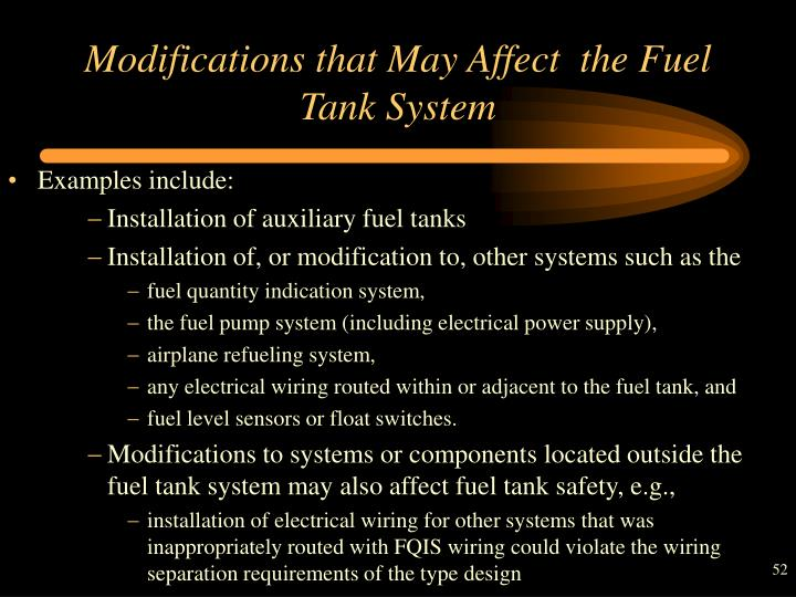 Modifications that May Affect  the Fuel Tank System