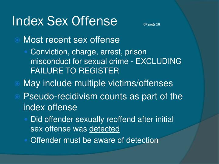 Index Sex Offense