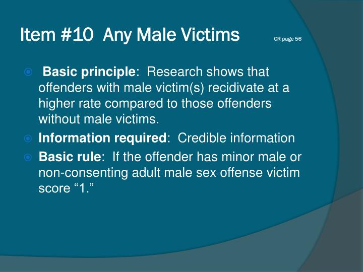 Item #10  Any Male Victims