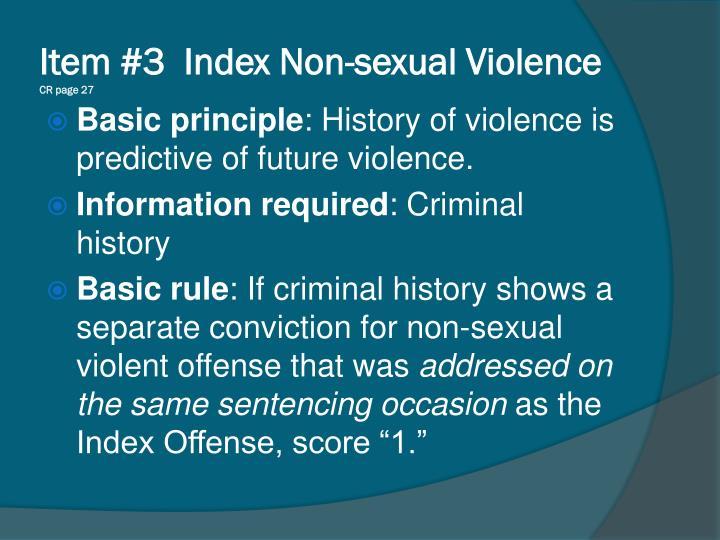 Item #3  Index Non-sexual Violence
