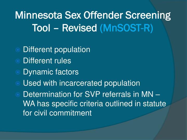 Minnesota Sex Offender Screening Tool – Revised