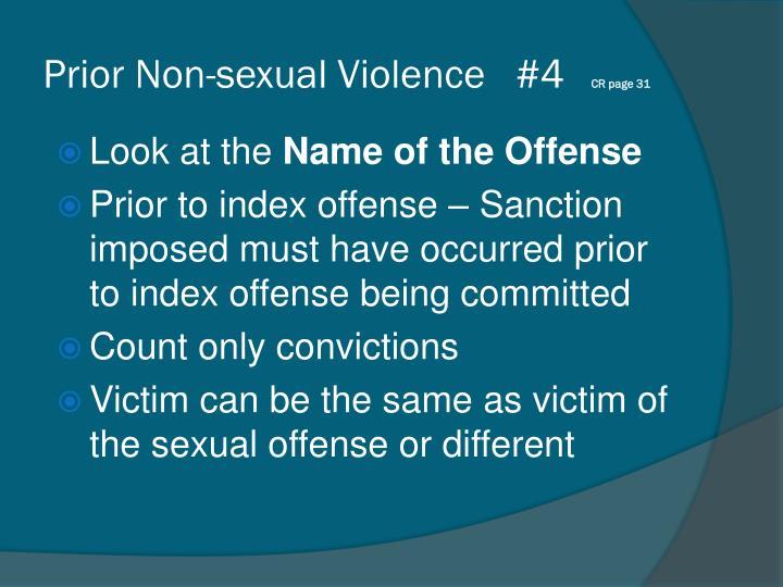 Prior Non-sexual Violence   #4