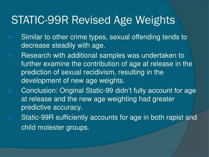 STATIC-99R Revised Age Weights