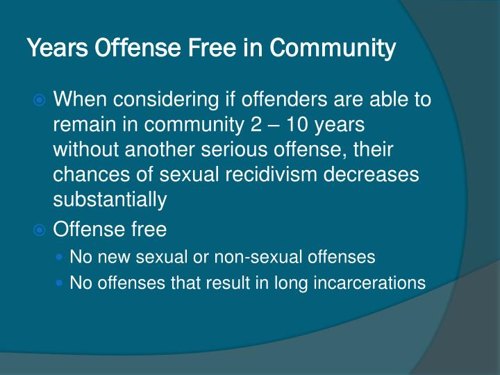 Years Offense Free in Community