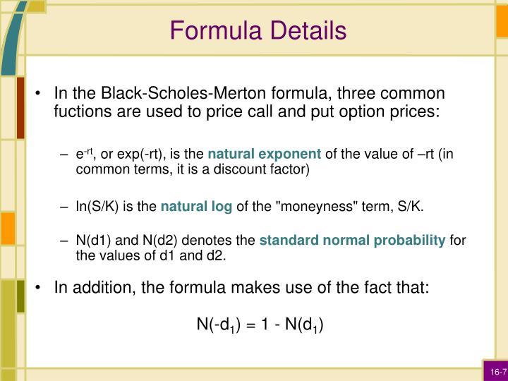 Formula Details