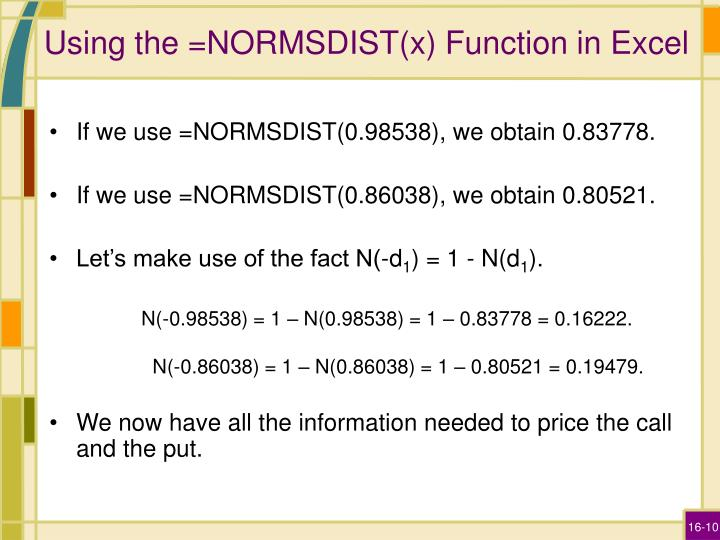 Using the =NORMSDIST(x) Function in Excel