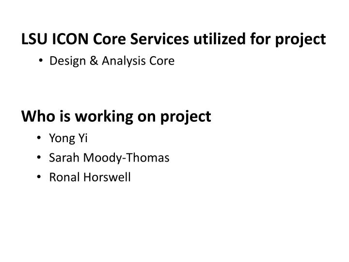 LSU ICON Core Services utilized for project