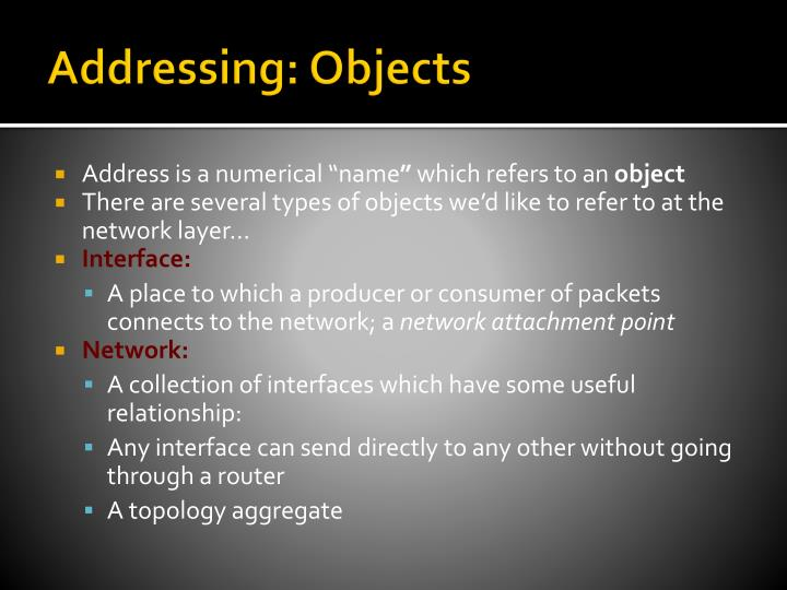 Addressing: Objects