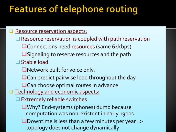 Features of telephone routing
