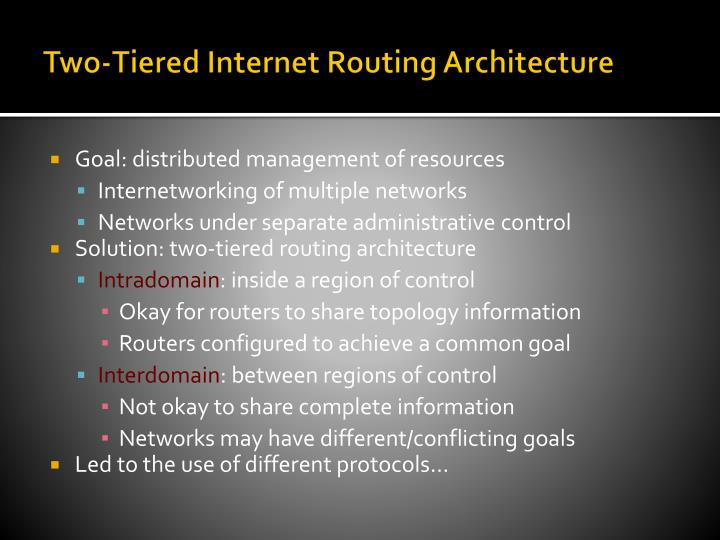 Two-Tiered Internet Routing Architecture