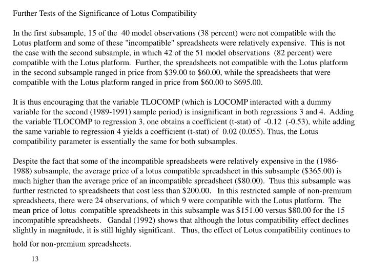 Further Tests of the Significance of Lotus Compatibility