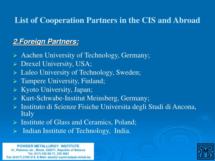 List of Cooperation Partners in the CIS and Abroad
