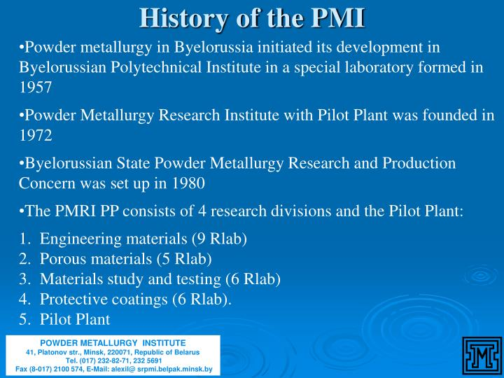 History of the PMI