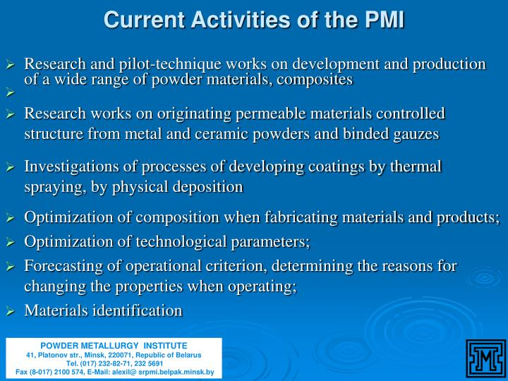 Current Activities of the PMI