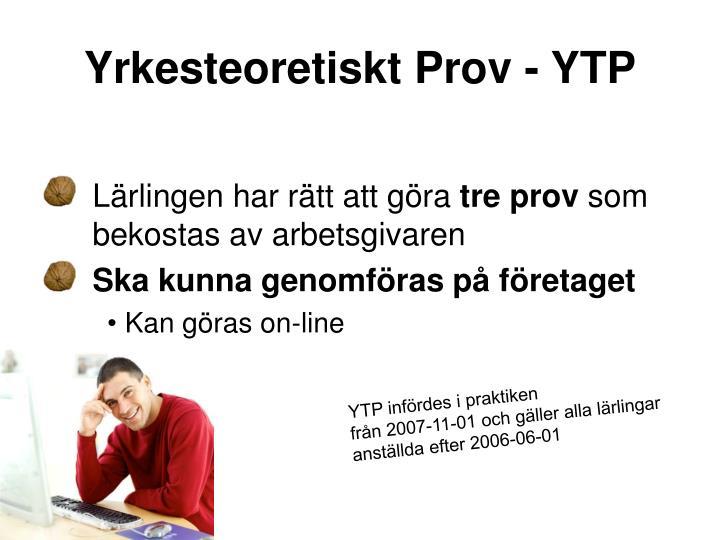 Yrkesteoretiskt Prov - YTP
