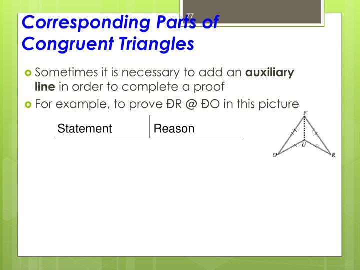 Corresponding Parts of