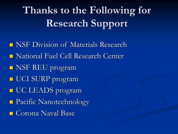 Thanks to the Following for Research Support