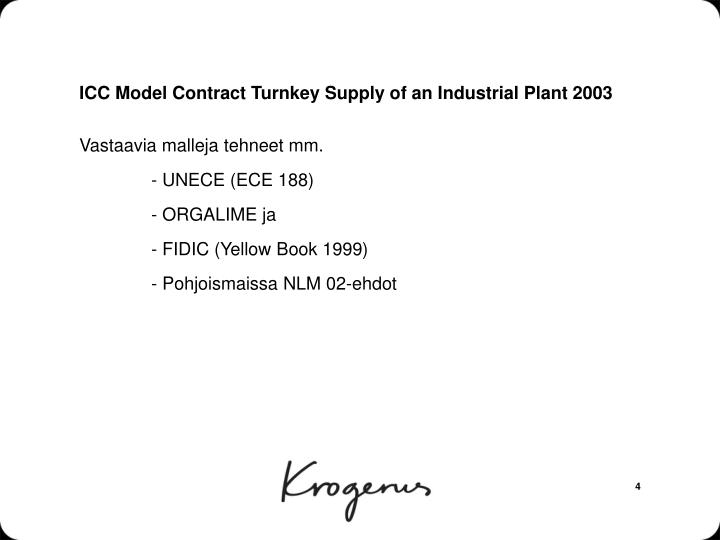 ICC Model Contract Turnkey Supply of an Industrial Plant 2003