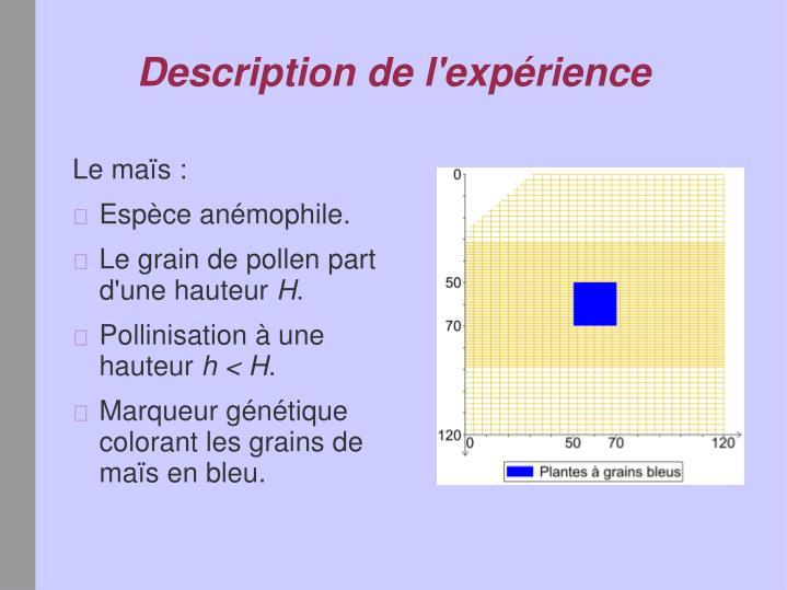 Description de l'expérience