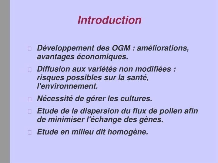 Développement des OGM : améliorations, avantages économiques.