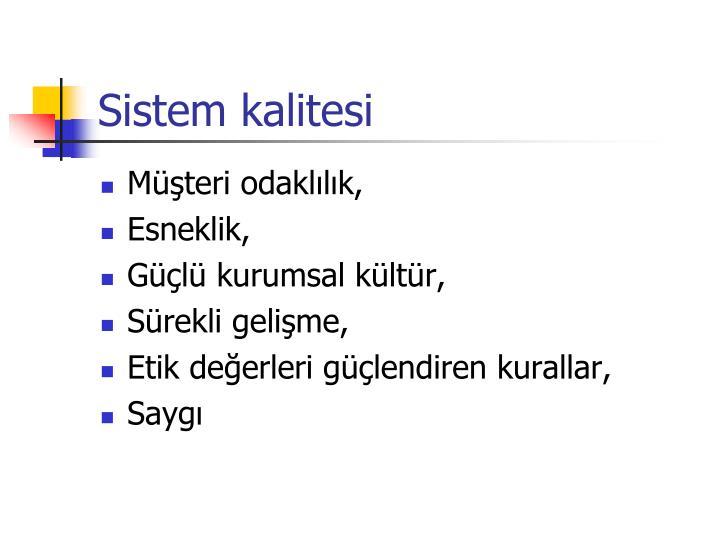 Sistem kalitesi