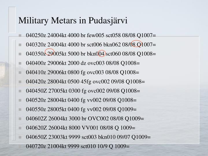 Military Metars in Pudasjärvi