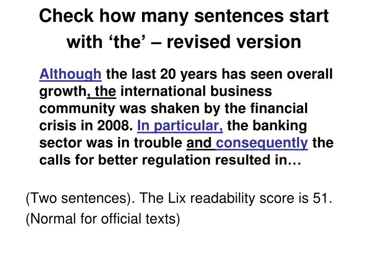 Check how many sentences start with 'the' – revised version