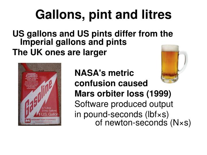 Gallons, pint and litres