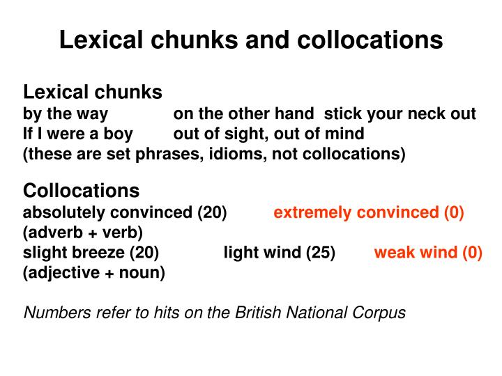 Lexical chunks and collocations