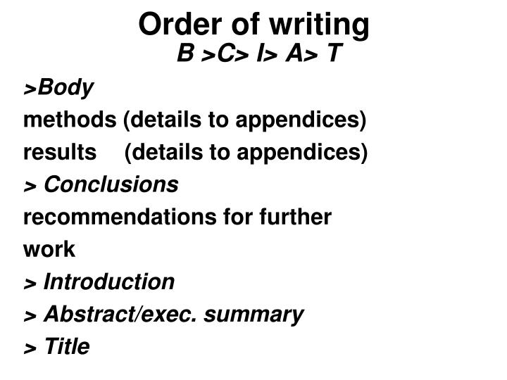 Order of writing