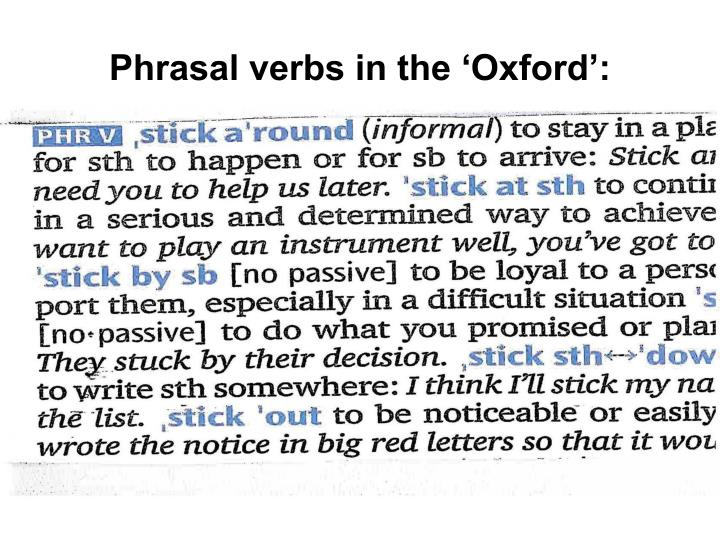 Phrasal verbs in the 'Oxford':