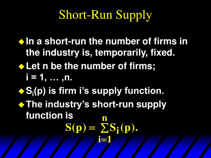 Short-Run Supply
