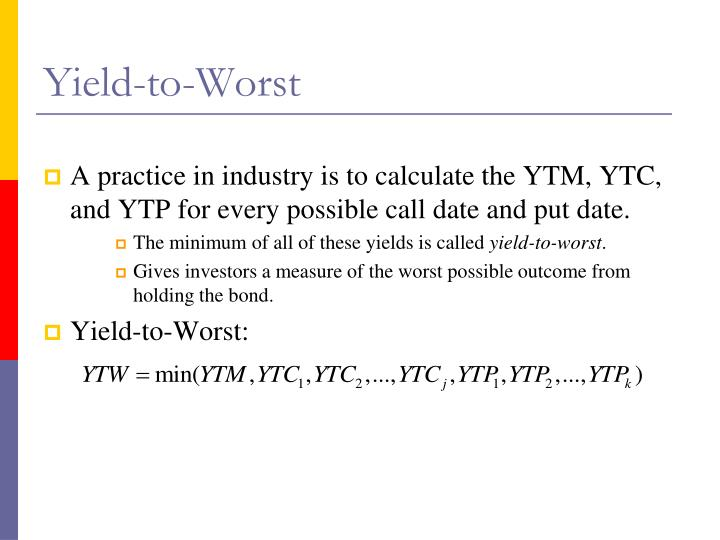 Yield-to-Worst