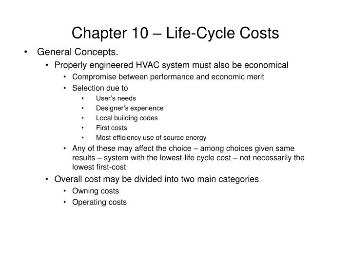 Chapter 10 life cycle costs