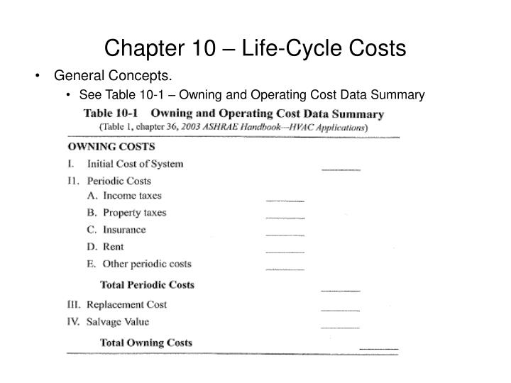 Chapter 10 – Life-Cycle Costs