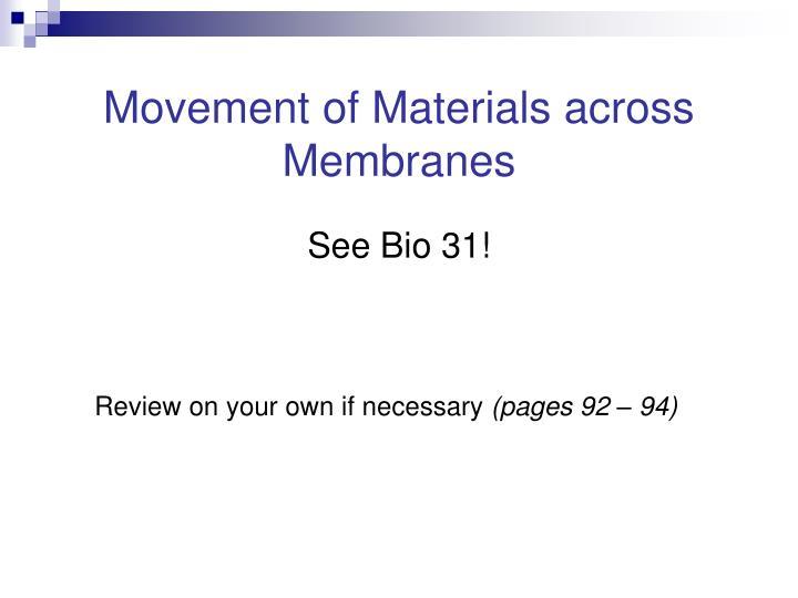 Movement of Materials across Membranes