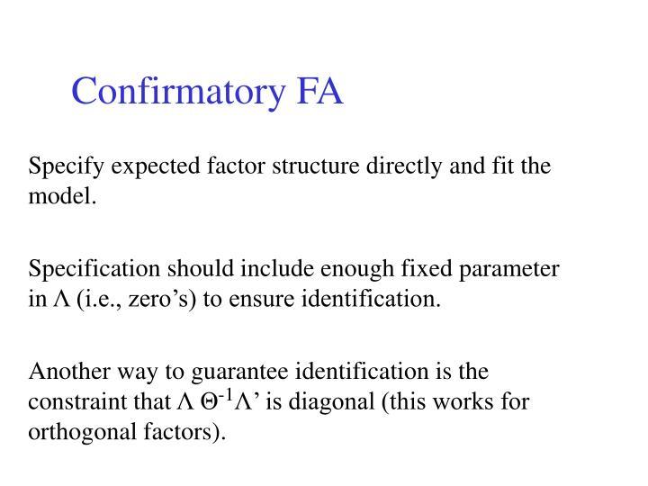 Confirmatory FA