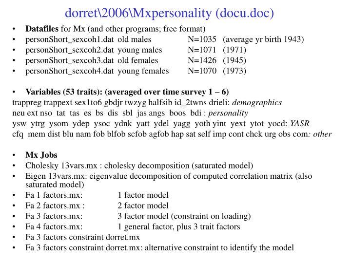 dorret\2006\Mxpersonality (docu.doc)