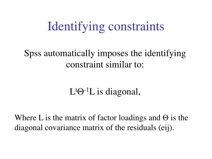 Identifying constraints