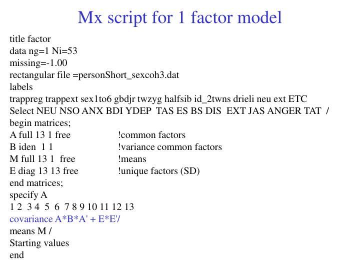Mx script for 1 factor model