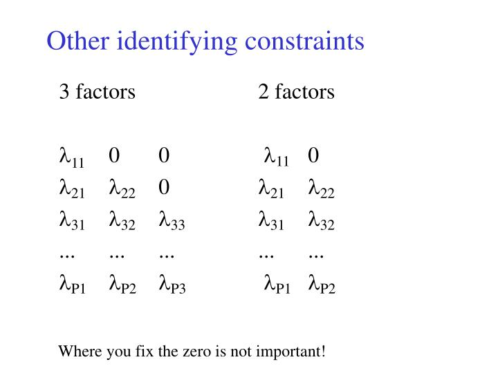 Other identifying constraints