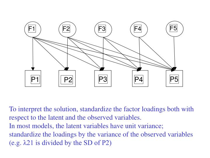 To interpret the solution, standardize the factor loadings both with respect to the latent and the observed variables.