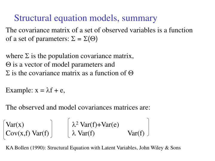 Structural equation models, summary