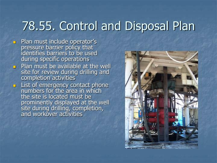 78.55. Control and Disposal Plan